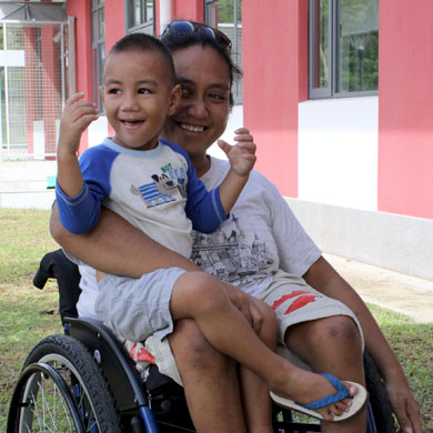 A successful wheelchair provision for this mother in Samoa - making her more mobile and independent!