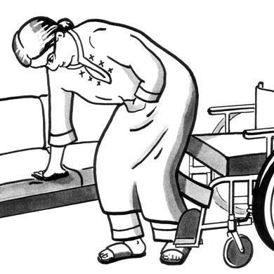 Illustration of a woman completing a standing transfer from her wheelchair to her couch.
