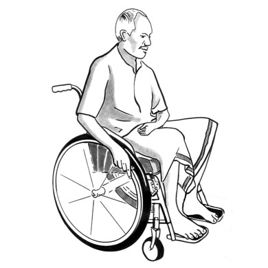 An illustration of a man with a stroke, pushing his wheelchair with one hand.