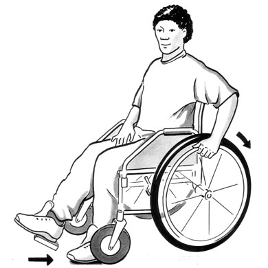 An illustration of a man with a stroke, pushing his wheelchair with one hand and one foot.
