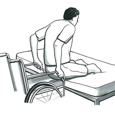 Illustration of a man with both legs amputated below his knees, transferring safely from his bed to his wheelchair.
