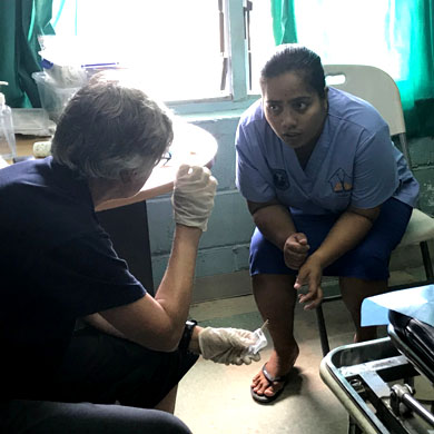 Diabetic Foot Clinic nurse talking to UniSA's Podiatry lecturer.