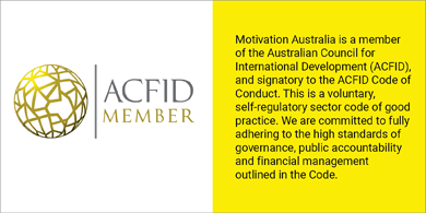 ACFID logo with the text: Motivation Australia is a member of the Australian Council for International Development (ACFID), and a signatory to the ACFID Code of Conduct. This is a voluntary, self-regulatory sector code of good practice. We are committed to fully adhering to high standards of governance, public accountability and financial management outlined in the code.