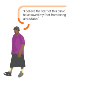"""An illustration of a man from Samoa, he has an orthotic shoe. Hi speech bubble """"I believe the staff of this clinic have saved my foot from being amputated"""""""