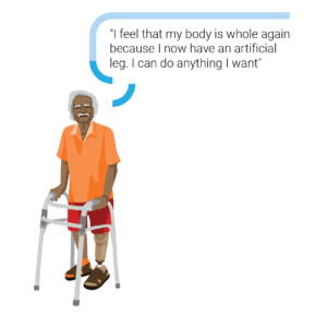 """An illustration of a man from Samoa, using a walking frame and a prosthetic leg. Hi speech bubble: """"I feel that my body is whole again, because I have an artificial leg. i can do anything I want"""""""