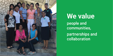 """Image is split in half. The left shows a picture of a group of 13 women smiling for the camera. Two women are sitting down. On the right the text reads """"We value people and communities, partnerships and collaboration."""""""