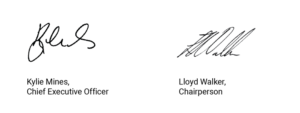 Signature of Kylie Mines, CEO and Lloyd Walker, Chairperson of Motivation Australia