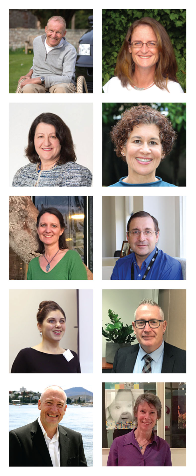 A grid of 2 x 5 photos of MA's board members