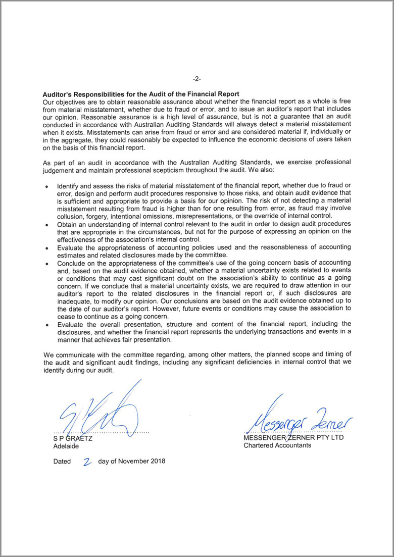 Page two of the audit letter, signed by SP Graetz and Messenger Zerner.