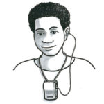 An i illustration of a pacific island woman using a hearing device.