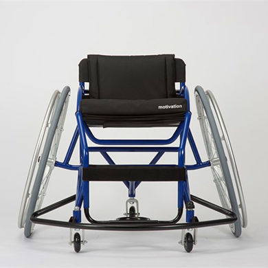 An entry level sports wheelchair with a strong blue frame, low backrest and angled wheels.