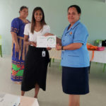 Nalini Natesan with Head of NDC nurses Selini Soaki and NDC nurse Litania Akoteu. Litania is holding her certificate.