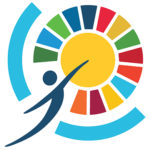 Logo showing a person reaching through a barrier to touch the sun which radiates different colours.