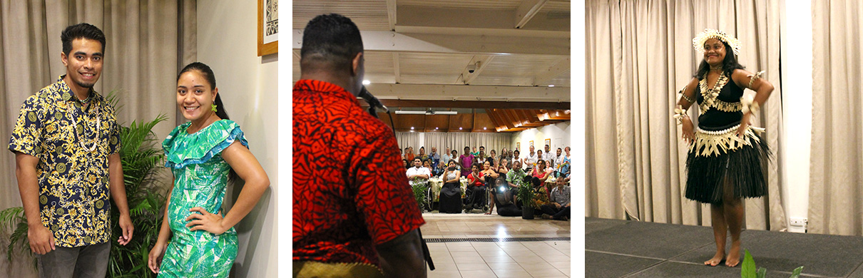Three images: Mike dressed in a colourful yellow and blue shirt and Pauline in a green and blue dress were MCs for the night. a Tongan man in a red shirt from behind looking forward towards the rapt audience of conference delegates during the Tongan teams crowd favourite traditional dancing and singing performance. Akoaki in traditional i-Kiribati dress dancing during the cultural night.