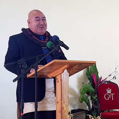 Photo of the Tongan Minister for Health speaking at the opening ceremony.