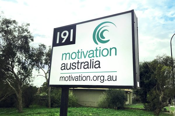 The MA office sign with the Motivation Australia logo and number 191 displayed on it.