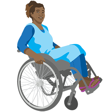 Drawing of a dark-skinned woman balancing on the rear wheels of her wheelchair.
