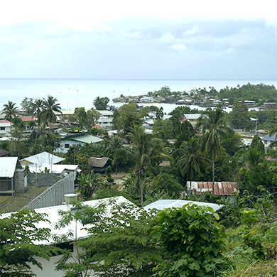 A view over a coastal town. The sky is cloudy but blue, and the trees are lush and green between clusters of houses.