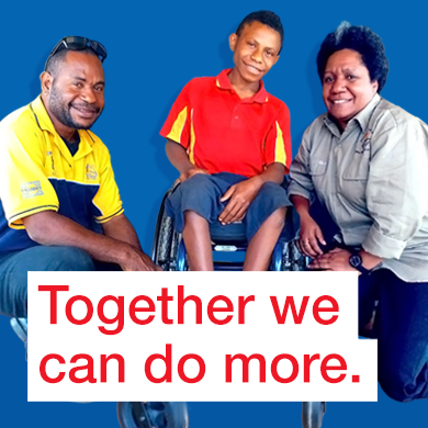 "A man, woman and young teenage boy who is using a new wheelchair smile at the camera. Text reads ""Together, we can do more."""