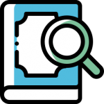 Icon for examining books.