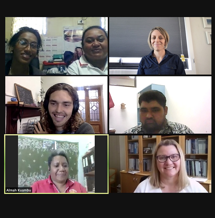 7 members of the Regional Network steering committee are on a video call. They are all smiling from 6 rectangle boxes.